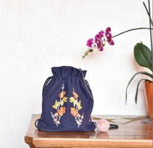 Cathy Mon atelier - tissu Natté Eclipse - patron maison pour le sac et la broderie