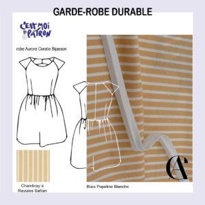 robe Aurore de Coralie Bijasson en chambray à rayures safran